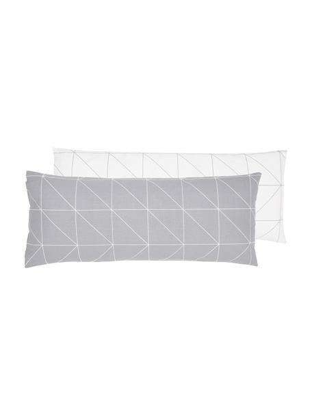 Funda de almohada de algodón Marla, 45x110cm, Verde salvia, blanco crema, An 45 x L 110 cm