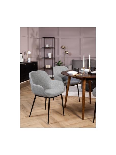 Sedia con braccioli Kona 2 pz, Rivestimento: poliestere 50.000 cicli d, Gambe: metallo verniciato, Tessuto grigio, Larg. 59 x Alt. 56 cm