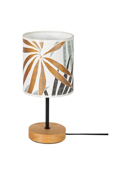 Tafellamp Hoja met jungle print, Lampenkap: papier, Lampvoet: eikenhout, geolied, Beige, groen, goudkleurig, Ø 13 x H 34 cm