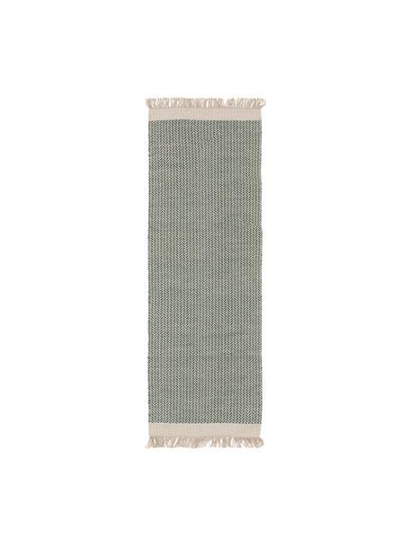 Handgewebter Wollläufer Kim in Grün/Creme, mit Fransen, 80% Wolle, 20% Baumwolle  Bei Wollteppichen können sich in den ersten Wochen der Nutzung Fasern lösen, dies reduziert sich durch den täglichen Gebrauch und die Flusenbildung geht zurück., Grün, Creme, 70 x 200 cm