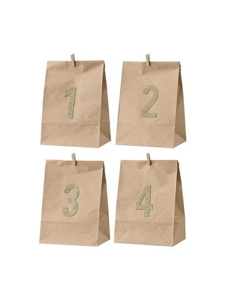 Papiertüten-Set Advent H 24 cm, 4 Stück, Papier, Braun, Goldfarben, 18 x 24 cm