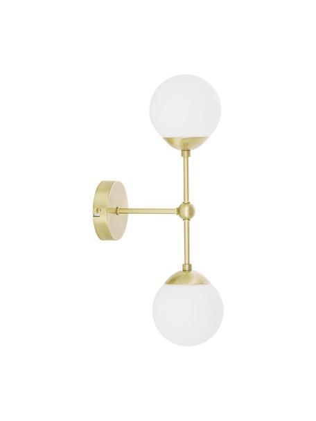 Applique in vetro opale Beth, Paralume: vetro, Struttura: metallo ottonato, Bianco, ottone, Ø 12 x Alt. 45 cm