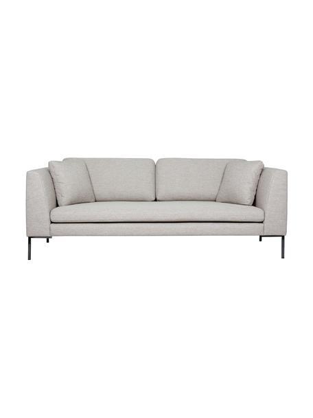 Sofa Emma (3-Sitzer) in Beige mit Metall-Füssen, Bezug: Polyester 100.000 Scheuer, Gestell: Massives Kiefernholz, Webstoff Beige, Füsse Schwarz, B 227 x T 100 cm