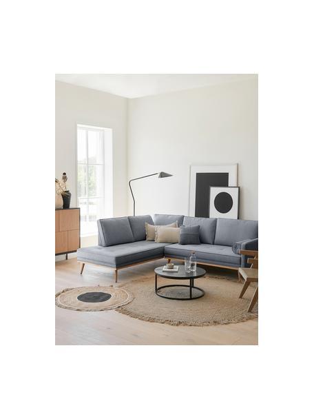 Sofa narożna z nogami z drewna dębowego Saint (3-osobowa), Tapicerka: poliester Dzięki tkaninie, Niebieskoszary, S 243 x G 220 cm