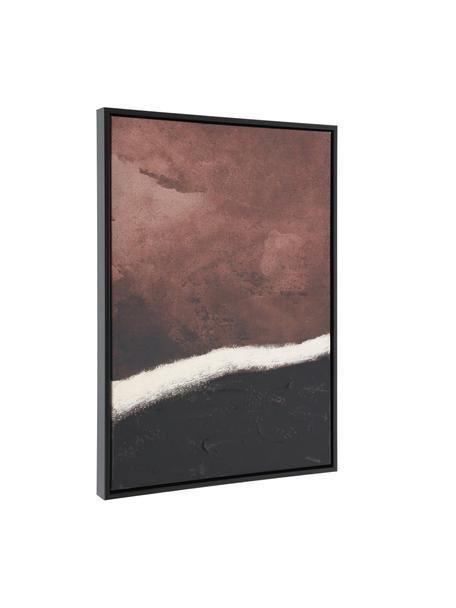 Canvas print Kande, Lijst: gecoat MDF, Afbeelding: canvas, Donkerrood, zwart, wit, 50 x 70 cm