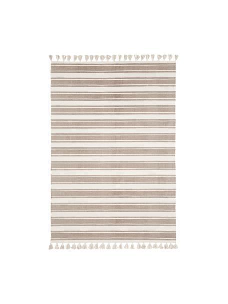 Gestreepte katoenen vloerkleed Vigga met kwastjes, handgeweven, Taupe, beige, 160 x 230 cm