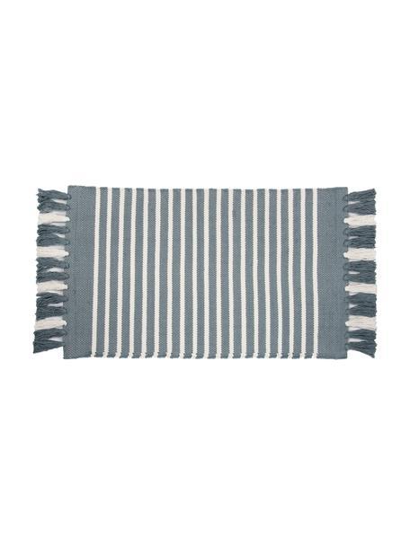 Gestreepte badmat Stripes & Structure met franjes, 100% katoen, Blauw, gebroken wit, 60 x 100 cm