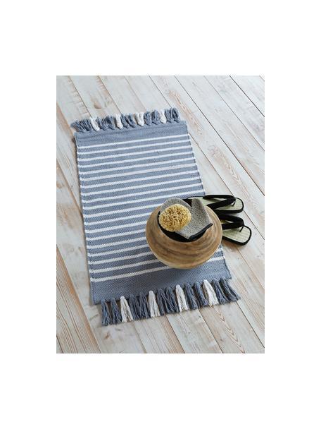 Dywanik łazienkowy z frędzlami Stripes & Structure, 100% bawełna, Niebieski, złamana biel, S 60 x D 100 cm