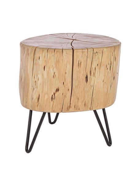 Mesa auxiliar Arthur, Tablero: madera de acacia, Patas: metal, Tablero: madera de acacia, lacado Patas: negro, An 35 x Al 35 cm