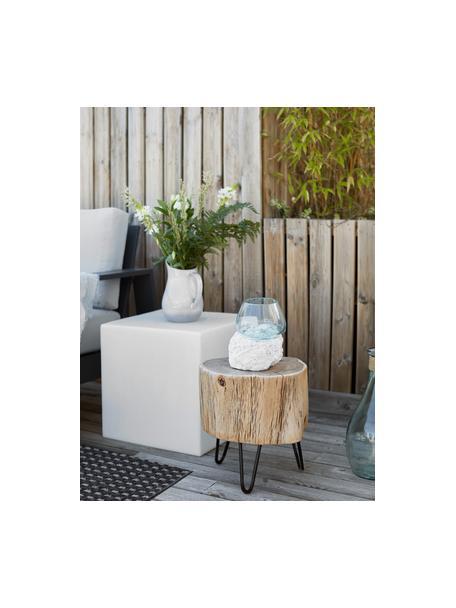 Stolik pomocniczy z drewna akacjowego Arthur, Blat: drewno akacjowe, Nogi: metal, Blat: drewno akacjowe, lakierowane Nogi: czarny, S 35 x W 35 cm