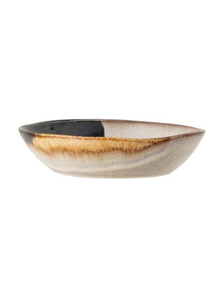 Handgefertige Suppenteller Jules aus Steingut, 2 Stück, Steingut, Beige- und Brauntöne, Schwarz, Ø 22 x H 5 cm