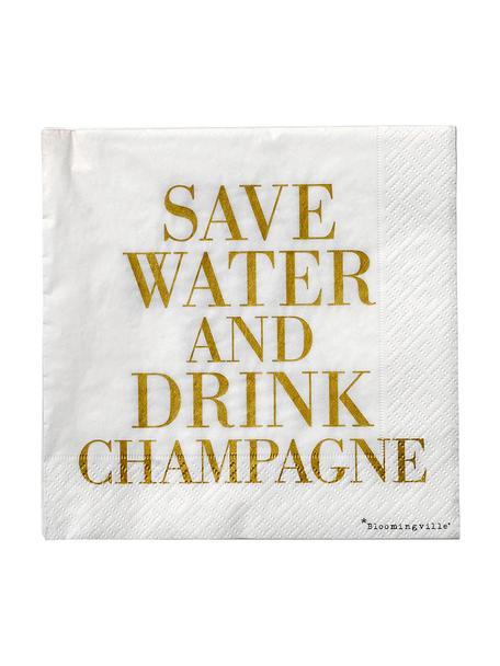 Serwetka z papieru Save Water, 20 szt., Papier, Odcienie złotego, biały, S 33 x D 33 cm
