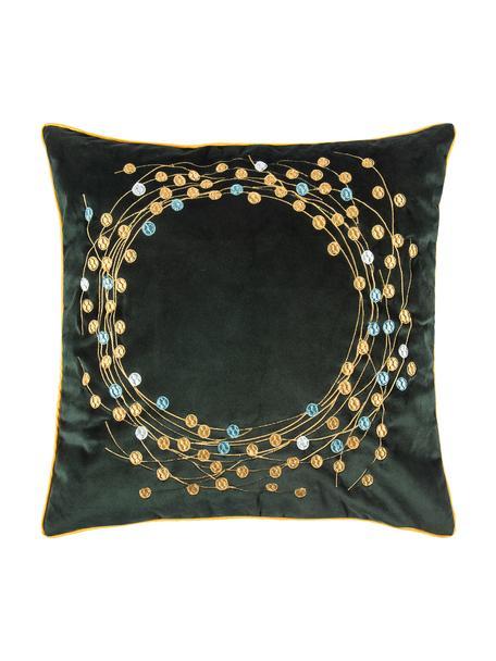Federa arredo in velluto con motivo invernale Circle, Velluto di poliestere, Verde scuro, dorato, Larg. 45 x Lung. 45 cm