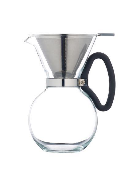 Cafetera de vidrio Daisy, Asa: plástico, Filtro y fijación: acero inoxidable, Transparente, acero inoxidable, Ø 15 x Al 23 cm