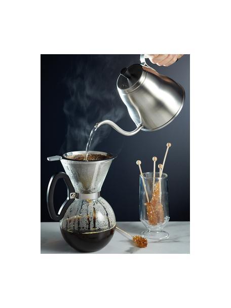 Kaffeebereiter Daisy aus Glas mit abnehmbaren Filteraufsatz, Kanne: Borosilikatglas, Griff: Kunststoff (ABS), Filter und Befestigung: Edelstahl, Transparent, Edelstahl, 1 L
