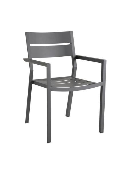 Sedia impilabile da giardino Delia, Alluminio verniciato a polvere, Antracite, Larg. 55 x Prof. 55 cm