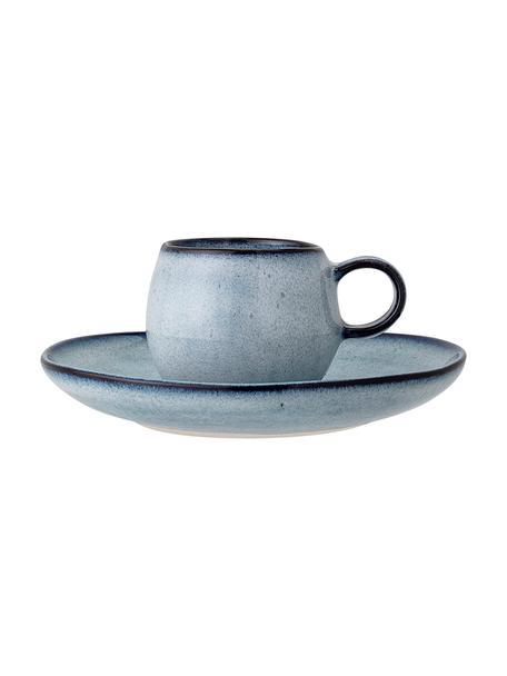 Taza con platito de gres artesanal Sandrine, Gres, Tonos azules, Ø 7 x Al 6 cm