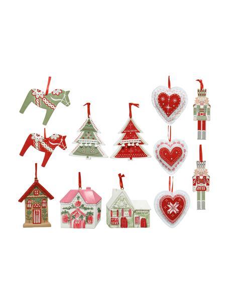 Set de adornos navideños Mille, 12uds., Adornos: madera recubierta, Blanco, verde, rojo, rosa, Set de diferentes tamaños