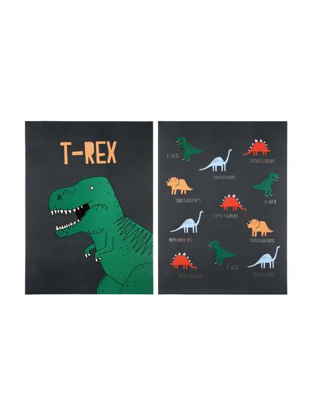 Set de posters Dinosaur, 2pzas., Impresión digital sobre papel, 200g/m², Beige claro, naranja, azul, rojo, amarillo, An 31 x Al 41 cm