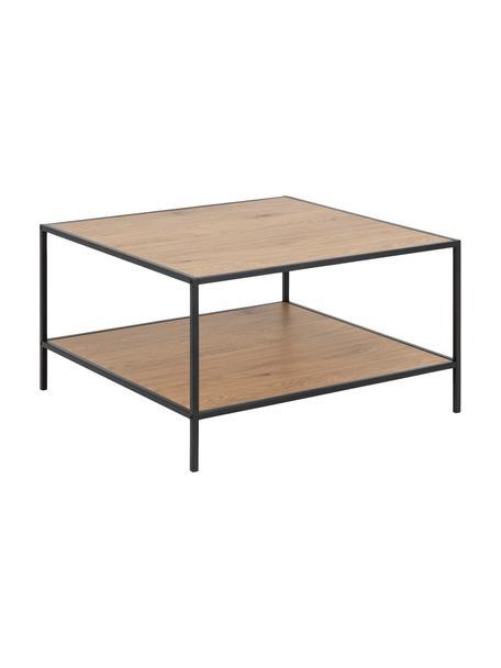 Stolik kawowy z drewna i metalu Seaford, Stelaż: metal malowany proszkowo, Brązowy, czarny, S 80 x W 45 cm