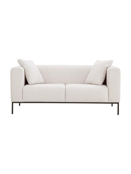 Sofa Carrie (2-Sitzer) in Beige mit Metall-Füssen, Bezug: Polyester 50.000 Scheuert, Gestell: Spanholz, Hartfaserplatte, Webstoff Beige, B 176 x T 86 cm
