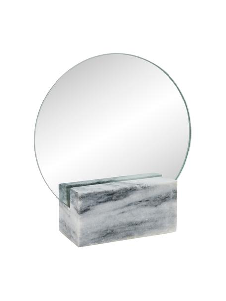 Runder Kosmetikspiegel Humana mit grauem Marmorfuß, Fuß: Marmor, Spiegelfläche: Spiegelglas, Grau, 17 x 19 cm
