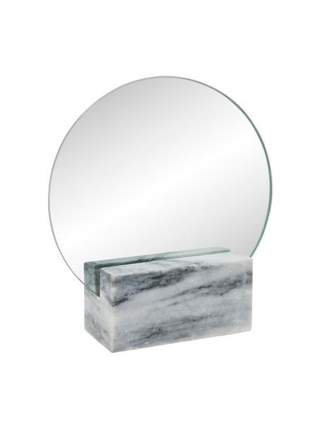 Specchio cosmetico con vassoio in marmo Humana, Superficie dello specchio: lastra di vetro, Grigio, Larg. 17 x Alt 19 cm