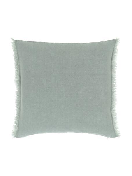 Funda de cojín de lino con flecos Luana, 100%lino, Verde, An 40 x L 40 cm
