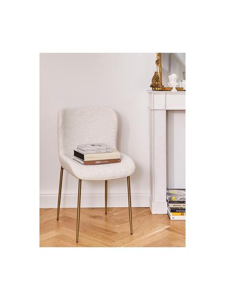 Bouclé-gestoffeerde stoel Tess in crèmewit, Bekleding: 70% polyester, 20% viscos, Poten: gecoat metaal, Bouclé crèmewit, poten goudkleurig, B 49 x D 64 cm
