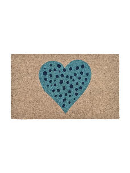 Fußmatte Herz, Oberseite: Kokosfaser, Unterseite: Vinyl, Beige, Blau, Schwarz, 45 x 75 cm
