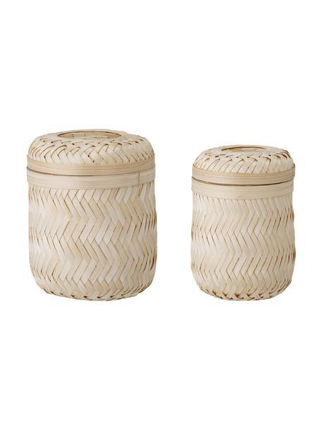 Komplet koszy do przechowywania z drewna bambusowego Jun, 2 elem., Drewno bambusowe, Beżowy, Komplet z różnymi rozmiarami