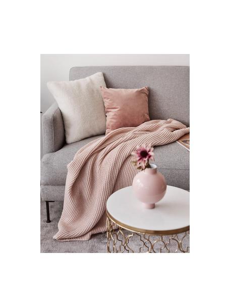 Dzianinowy koc z bawełny organicznej  Adalyn, 100% bawełna organiczna, certyfikat GOTS, Brudny różowy, S 150 x D 200 cm