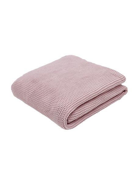 Plaid fatto a maglia rosa cipria Adalyn, 100% cotone, Rosa cipria, Larg. 150 x Lung. 200 cm