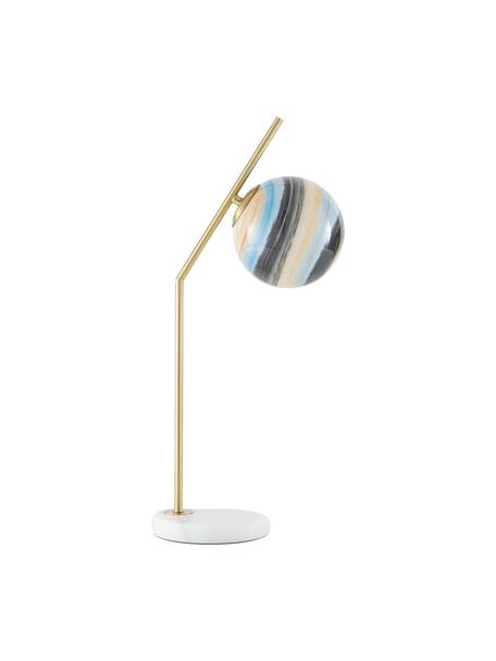 Duża lampa stołowa z marmurową podstawą Opal, Odcienie mosiądzu, biały, odcienie pastelowe, S 25 x W 56 cm