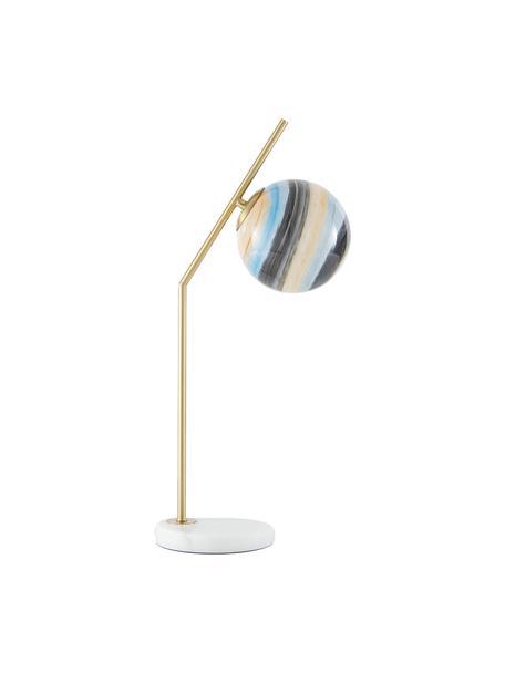 Lampada da tavolo con base in marmo Opal, Paralume: vetro, Base della lampada: marmo, Colori ottone, bianco, colori pastello, Larg. 25 x Alt. 56 cm