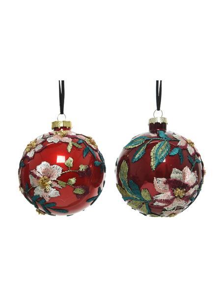 Set 2 palline di Natale Flowers, Ø8 cm, Rosso, multicolore, Ø 10 cm
