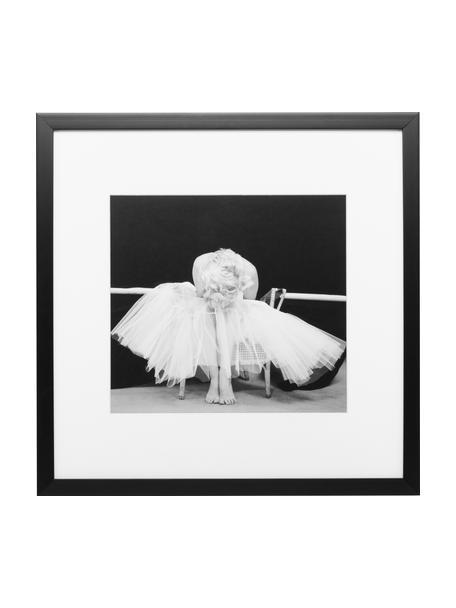 Gerahmter Digitaldruck Ballerina, Bild: Digitaldruck, Rahmen: Kunststoff, Front: Glas, Bild: Schwarz, Weiß Rahmen: Schwarz, 40 x 40 cm