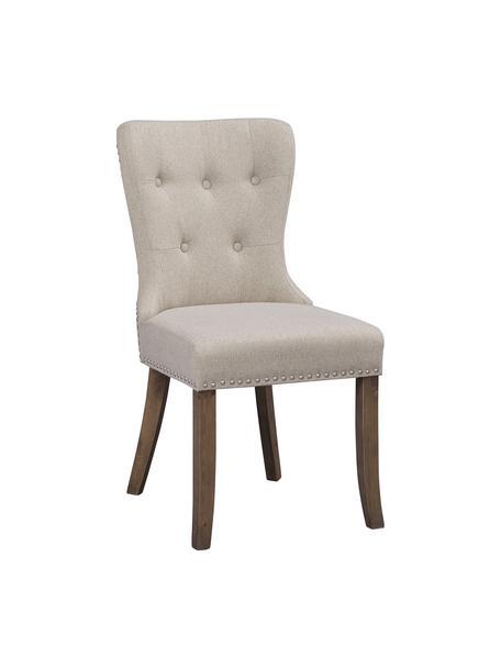 Krzesło tapicerowane Adele, 2 szt., Tapicerka: 85% poliester, 15% len, Nogi: drewno naturalne, Beżowy, S 51 x G 102 cm