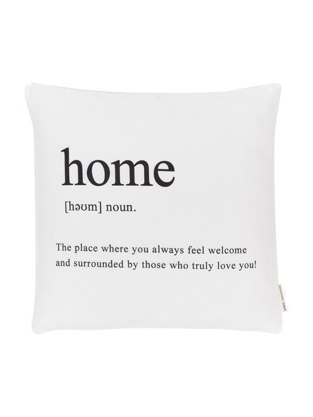 Funda de cojín con inscripción Home, 100%poliéster, Negro, blanco, An 45 x L 45 cm