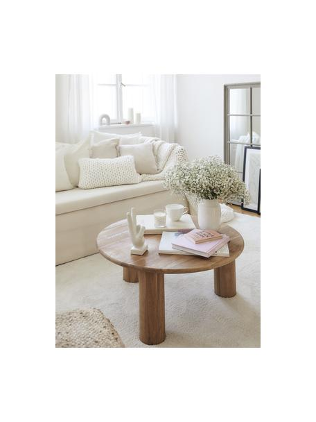 Mesa de centro de madera Didi, Madera de roble maciza aceitada, Marrón, Ø 80 x Al 35 cm