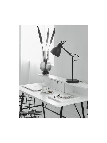 Bureaulamp Ethan in industrieel design, Lampenkap: gepoedercoat metaal, Lampvoet: gepoedercoat metaal, Zwart, Ø 15 x H 43 cm
