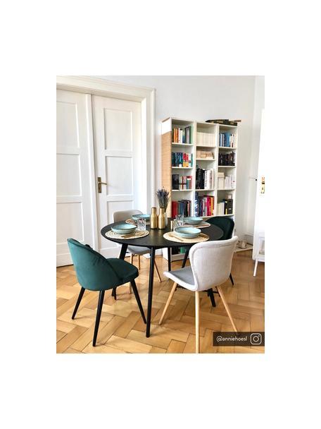 Moderne fluwelen stoelen Amy, 2 stuks, Bekleding: fluweel (polyester), Poten: gepoedercoat metaal, Fluweel donkergroen, B 51 x D 55 cm