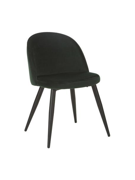Krzesło tapicerowane z aksamitu Amy, 2 szt., Tapicerka: aksamit (poliester) Dzięk, Nogi: metal malowany proszkowo, Zielony, S 47 x G 55 cm
