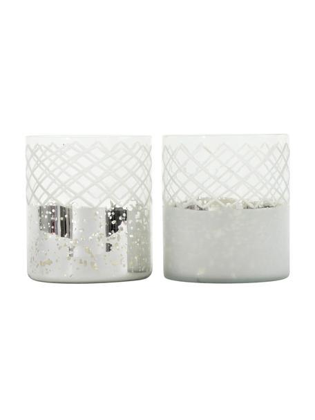 Komplet świeczników Lustro, 2 elem., Szkło, Odcienie srebrnego, transparentny, Ø 12 x W 17 cm
