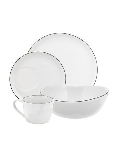 Set colazione fatto a mano per 4 persone Salt 16 pz, Porcellana, Bianco latteo, nero, Set in varie misure