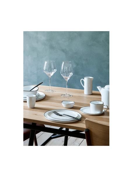Handgemaakte ontbijtset Salt, 16-delig, Porselein, Gebroken wit, zwart, Set met verschillende formaten