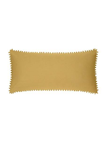 Baumwollperkal-Kissenbezüge Bommy mit Pompoms, 2 Stück, Webart: Perkal Fadendichte 200 TC, Senfgelb, 40 x 80 cm
