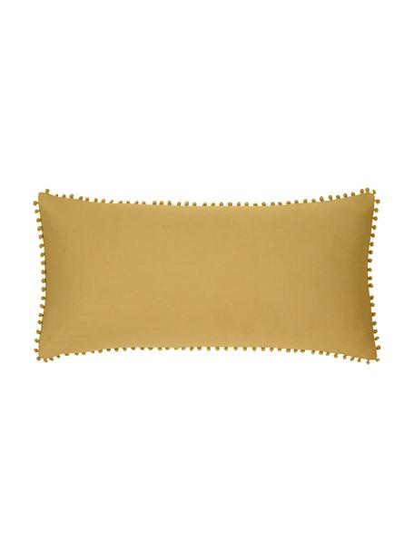 Baumwollperkal-Kopfkissenbezüge Bommy mit Pompoms, 2 Stück, Webart: Perkal Fadendichte 200 TC, Senfgelb, 40 x 80 cm