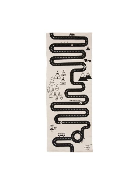 Vloerkleed Adventure, Katoen, Gebroken wit, zwart, 70 x 180 cm