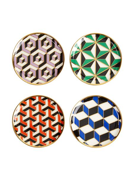 Posavasos de diseño Versaille, 4uds., Porcelana, detalles dorados, Multicolor, Ø 10 x Al 1 cm